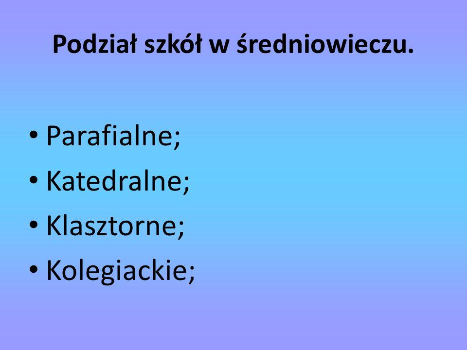 Podział szkół w średniowieczu.
