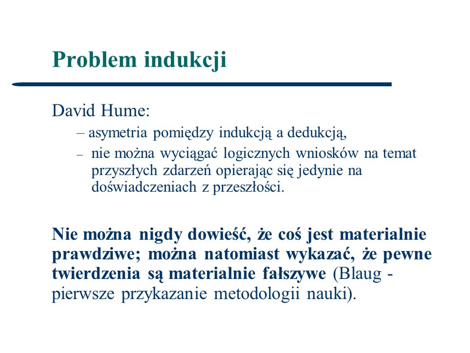 Problem indukcji David Hume: