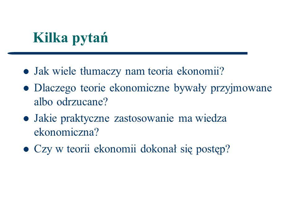 Kilka pytań Jak wiele tłumaczy nam teoria ekonomii