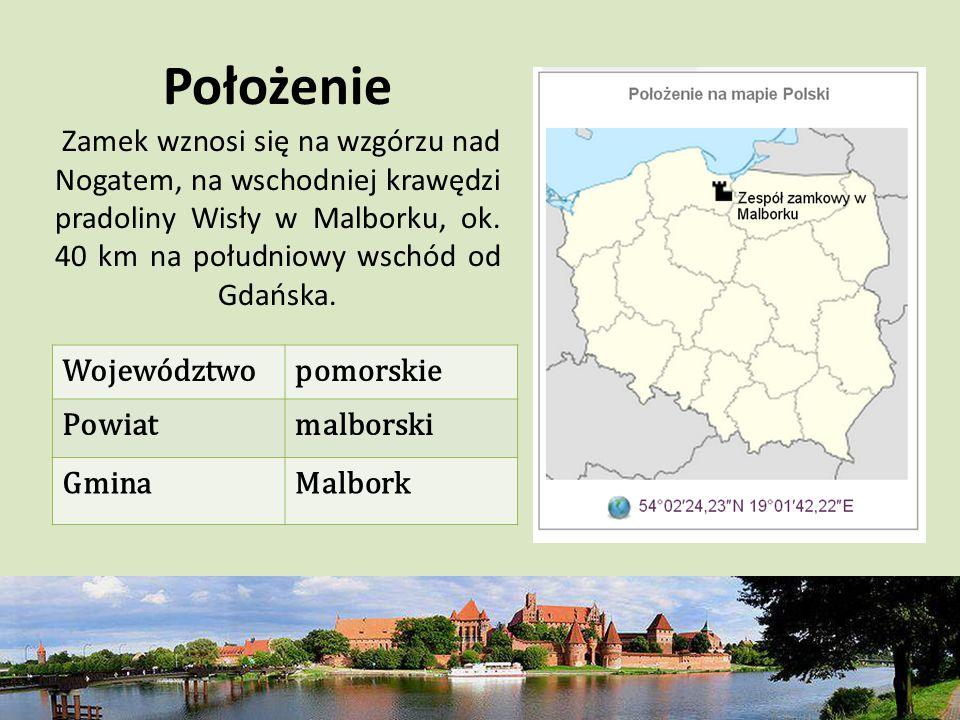 Położenie Zamek wznosi się na wzgórzu nad Nogatem, na wschodniej krawędzi pradoliny Wisły w Malborku, ok. 40 km na południowy wschód od Gdańska.