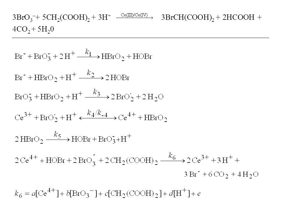 3BrO3–+ 5CH2(COOH)2 + 3H+ 3BrCH(COOH)2 + 2HCOOH + 4CO2 + 5H20