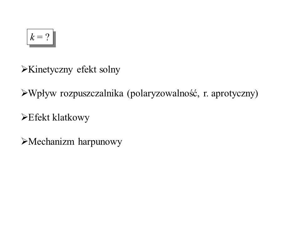 k = Kinetyczny efekt solny. Wpływ rozpuszczalnika (polaryzowalność, r. aprotyczny) Efekt klatkowy.