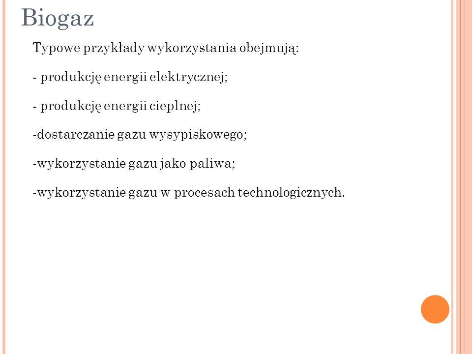 Biogaz Typowe przykłady wykorzystania obejmują: