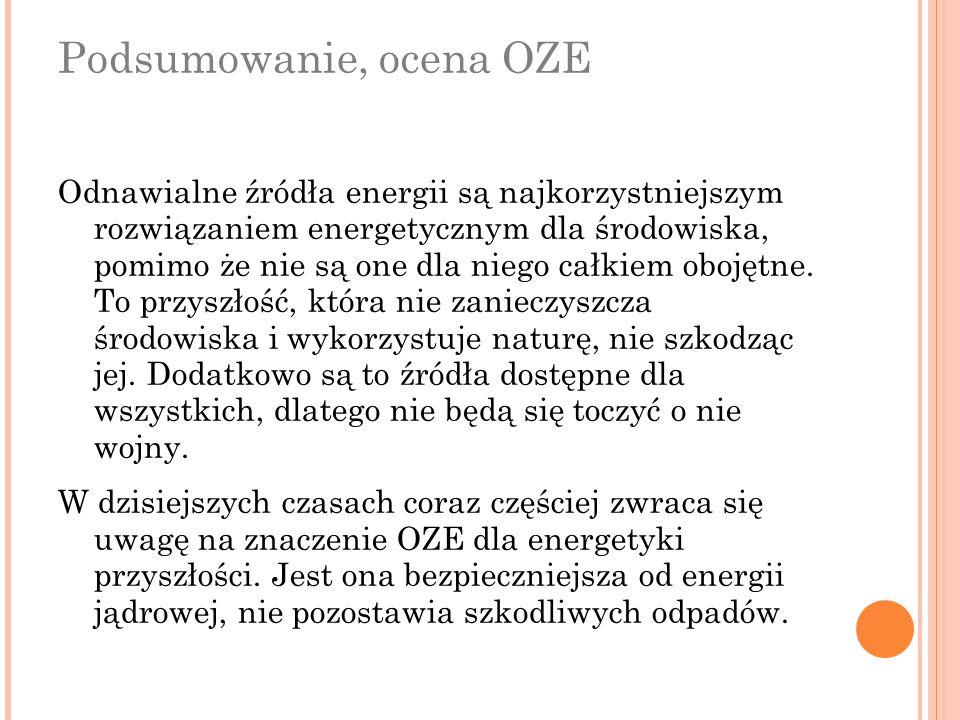 Podsumowanie, ocena OZE