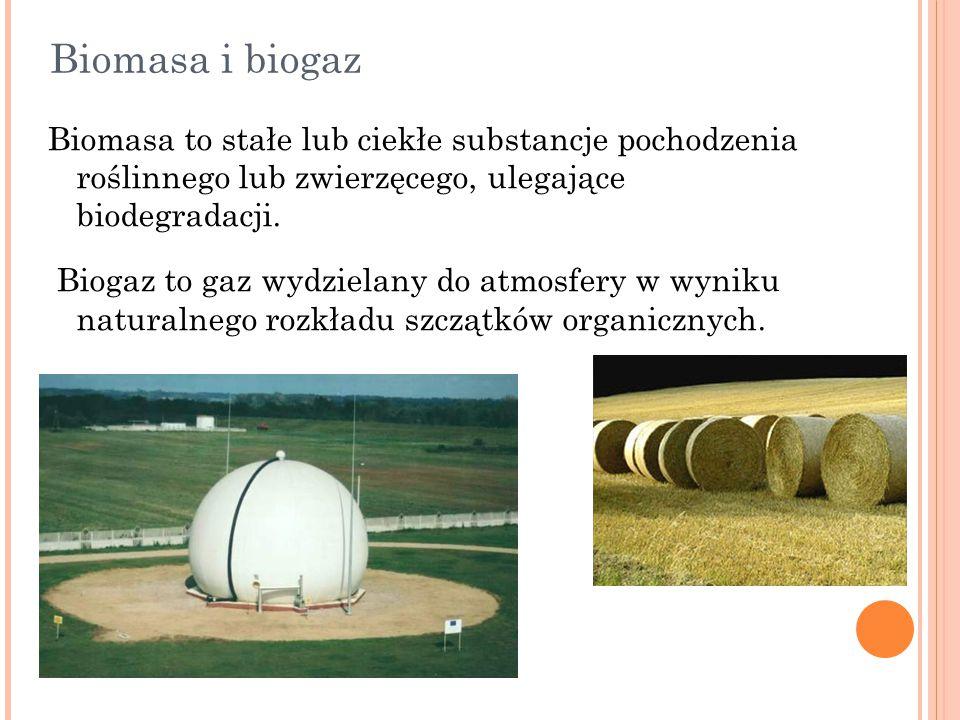 Biomasa i biogaz Biomasa to stałe lub ciekłe substancje pochodzenia roślinnego lub zwierzęcego, ulegające biodegradacji.