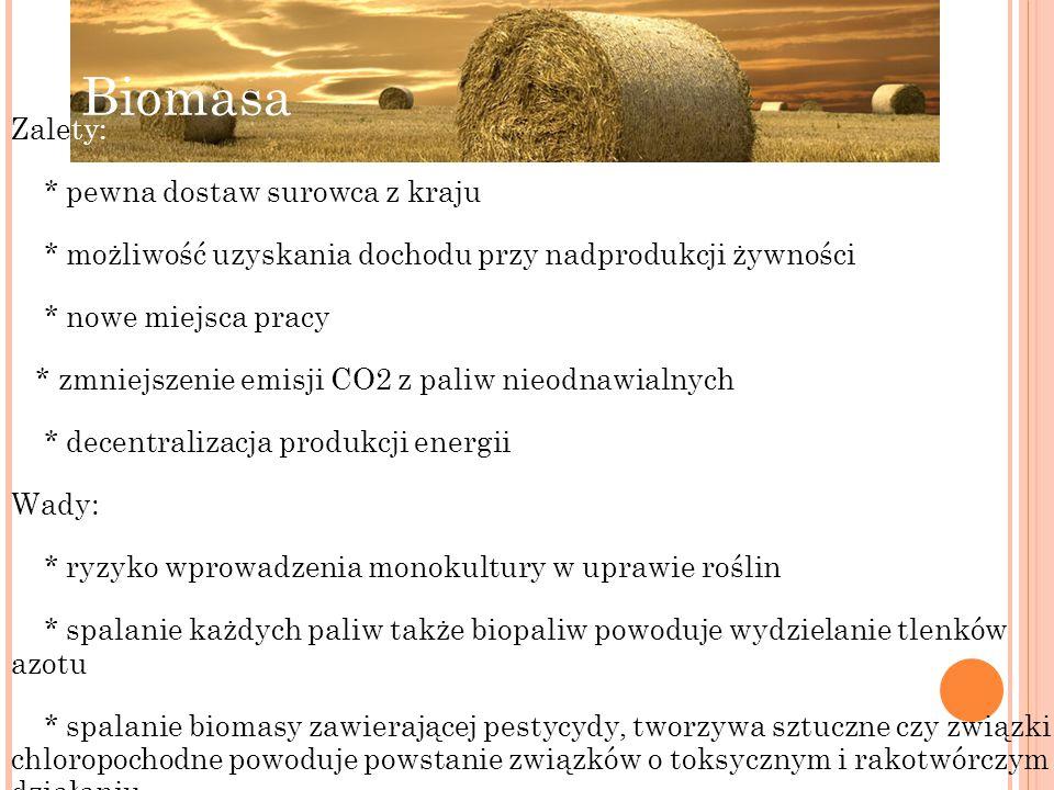 Biomasa Zalety: * pewna dostaw surowca z kraju