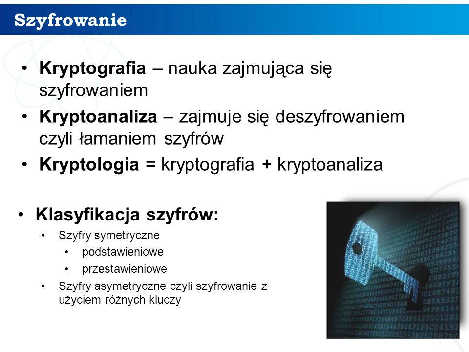 Kryptografia – nauka zajmująca się szyfrowaniem