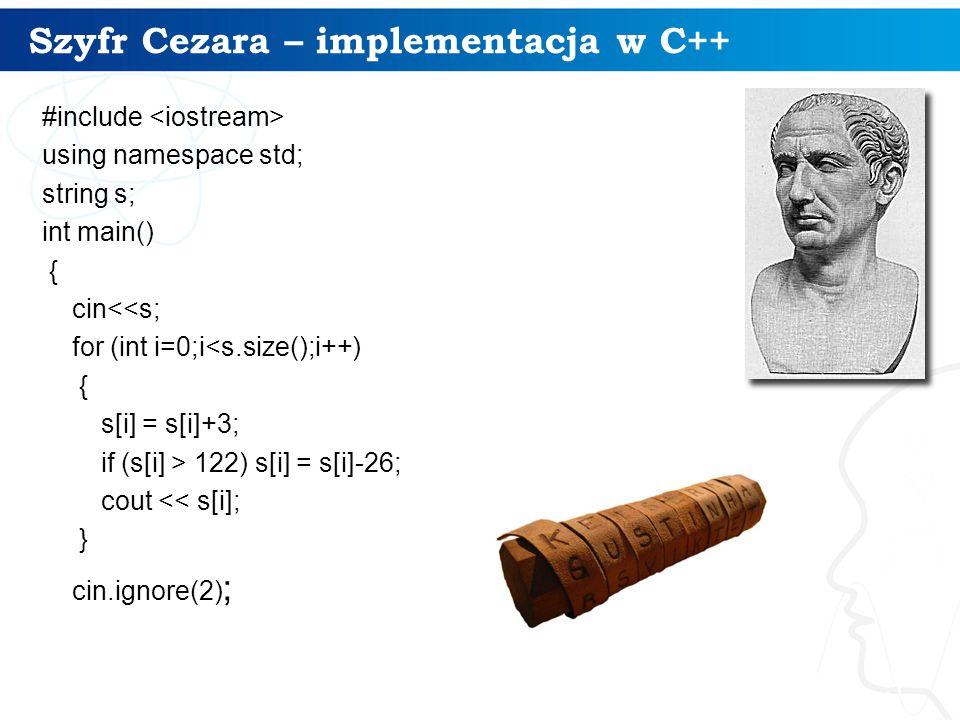 Szyfr Cezara – implementacja w C++