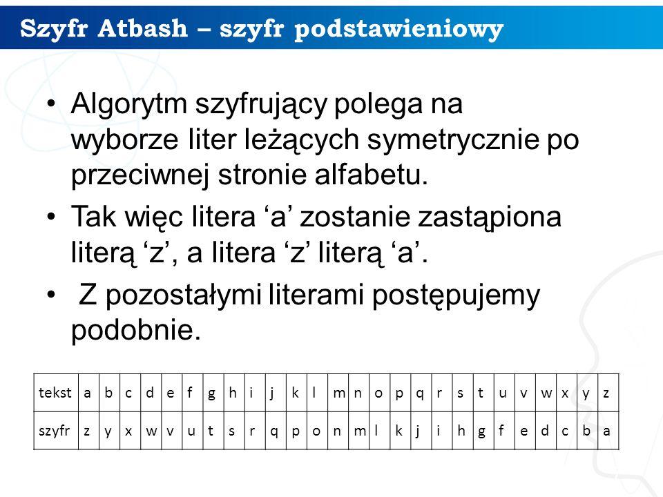 Szyfr Atbash – szyfr podstawieniowy