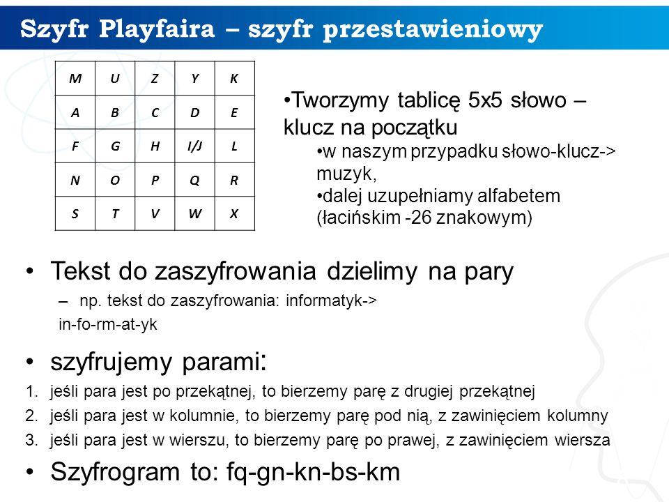 Szyfr Playfaira – szyfr przestawieniowy