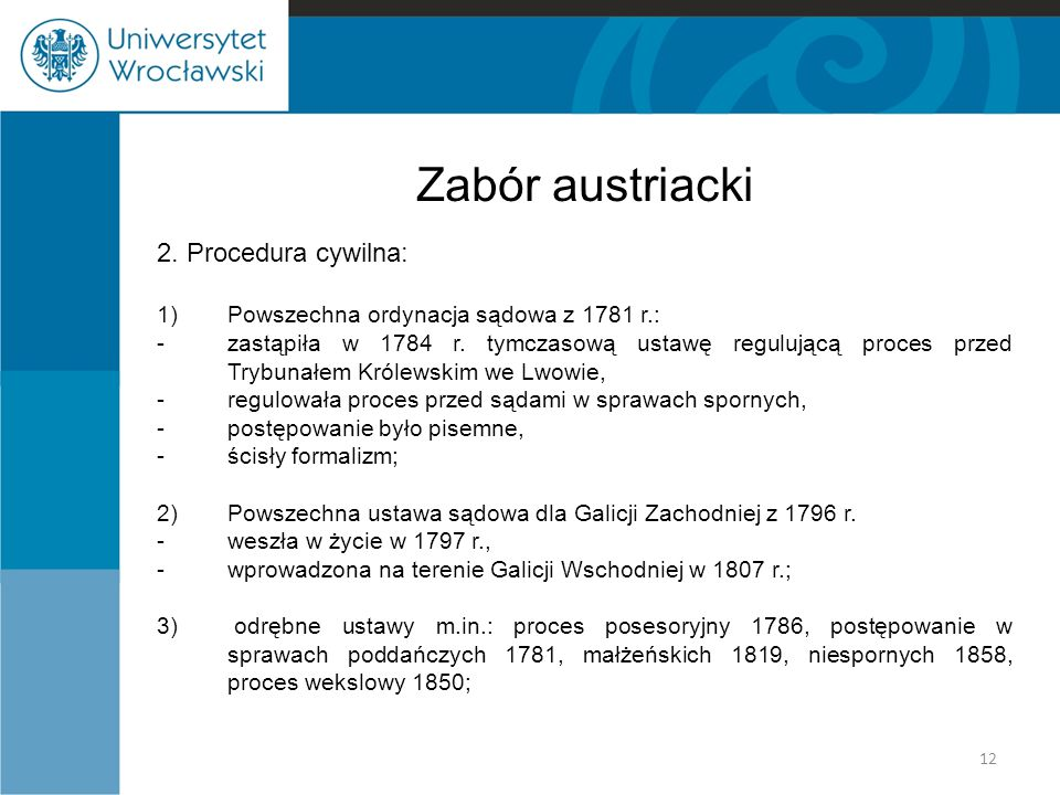 Zabór austriacki 2. Procedura cywilna: