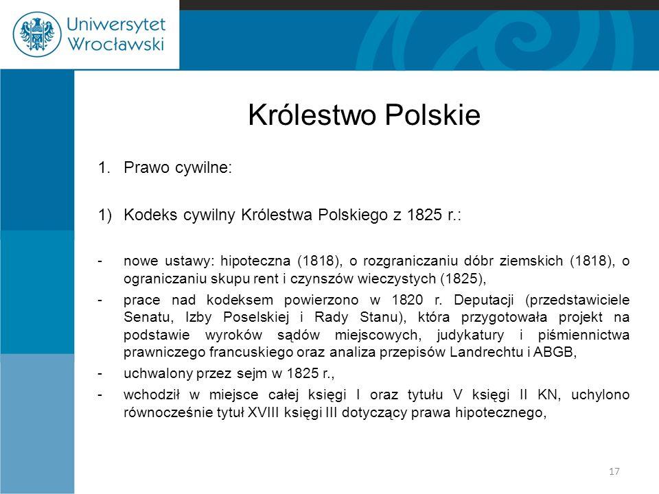 Królestwo Polskie 1. Prawo cywilne: