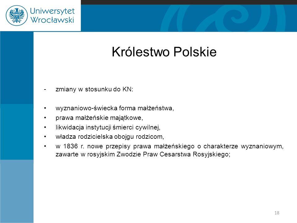 Królestwo Polskie - zmiany w stosunku do KN: