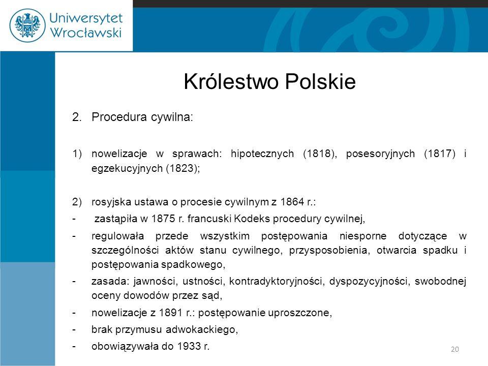 Królestwo Polskie 2. Procedura cywilna: