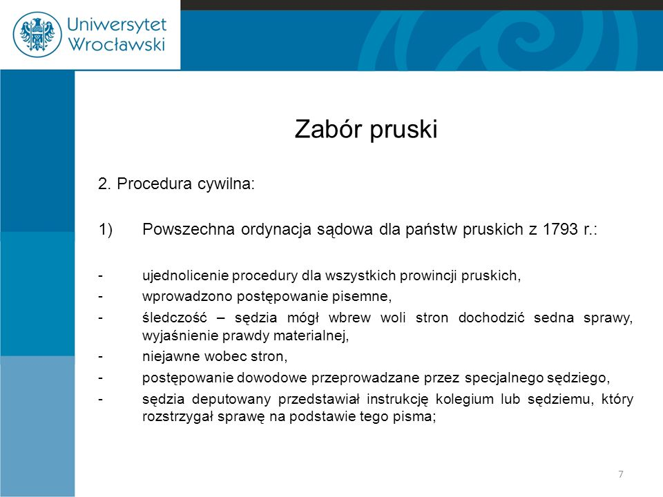 Zabór pruski 2. Procedura cywilna: