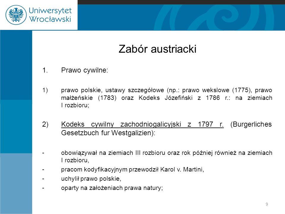 Zabór austriacki 1. Prawo cywilne: