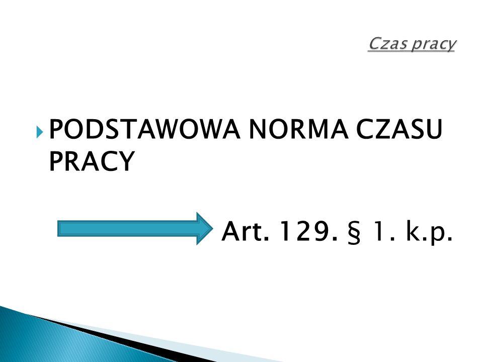 PODSTAWOWA NORMA CZASU PRACY