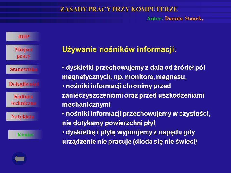 Używanie nośników informacji: