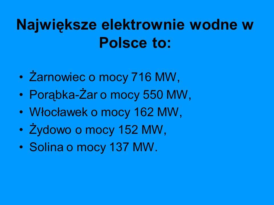 Największe elektrownie wodne w Polsce to: