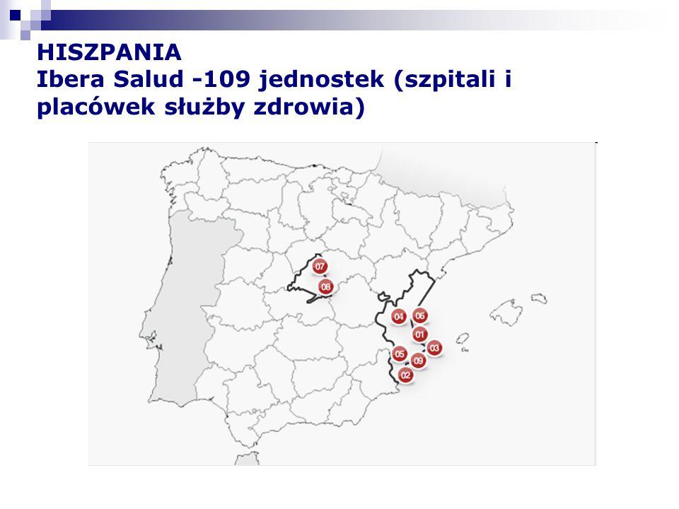 HISZPANIA Ibera Salud -109 jednostek (szpitali i placówek służby zdrowia)