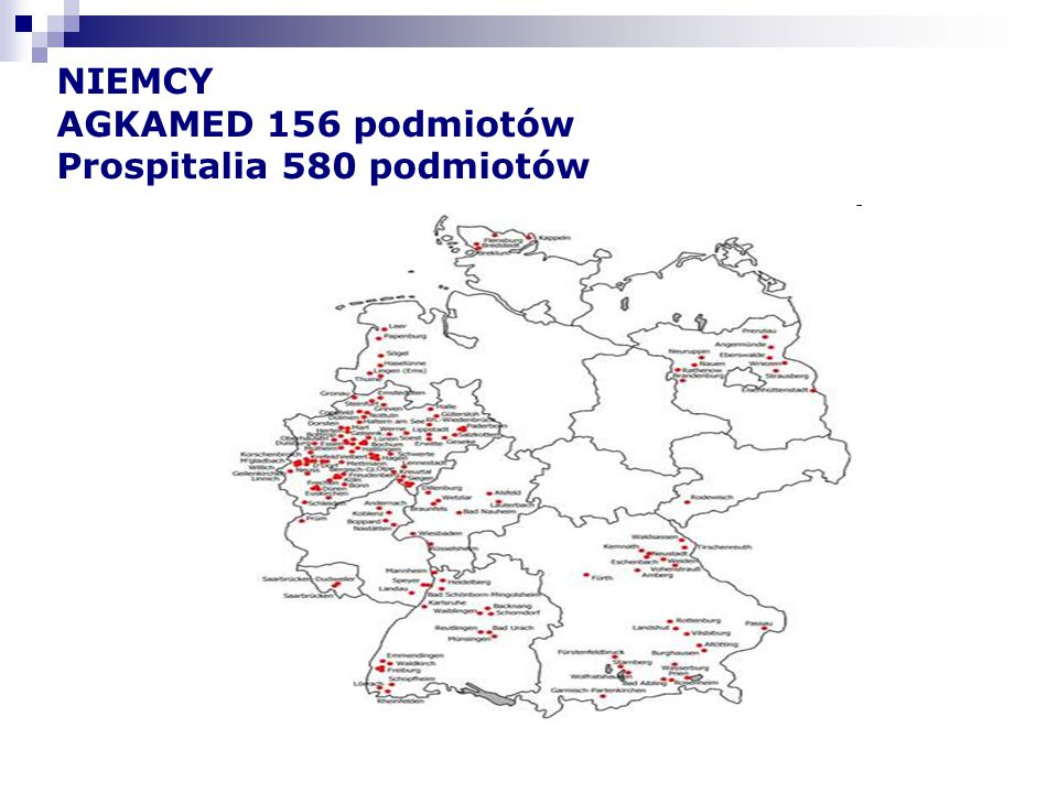 NIEMCY AGKAMED 156 podmiotów Prospitalia 580 podmiotów