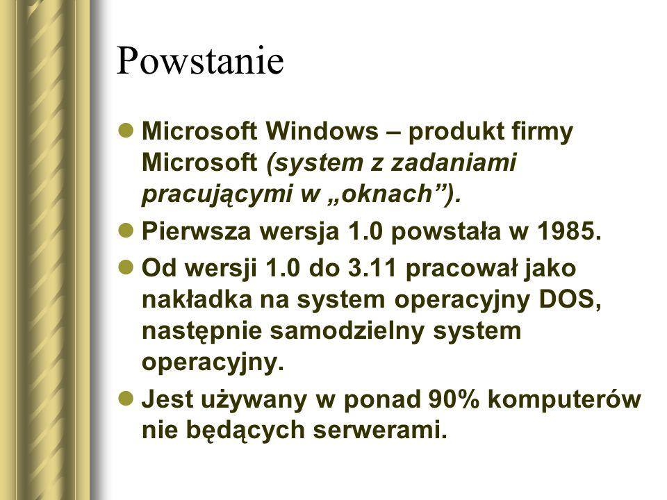 """Powstanie Microsoft Windows – produkt firmy Microsoft (system z zadaniami pracującymi w """"oknach ). Pierwsza wersja 1.0 powstała w 1985."""