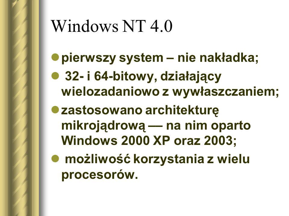 Windows NT 4.0 pierwszy system – nie nakładka;