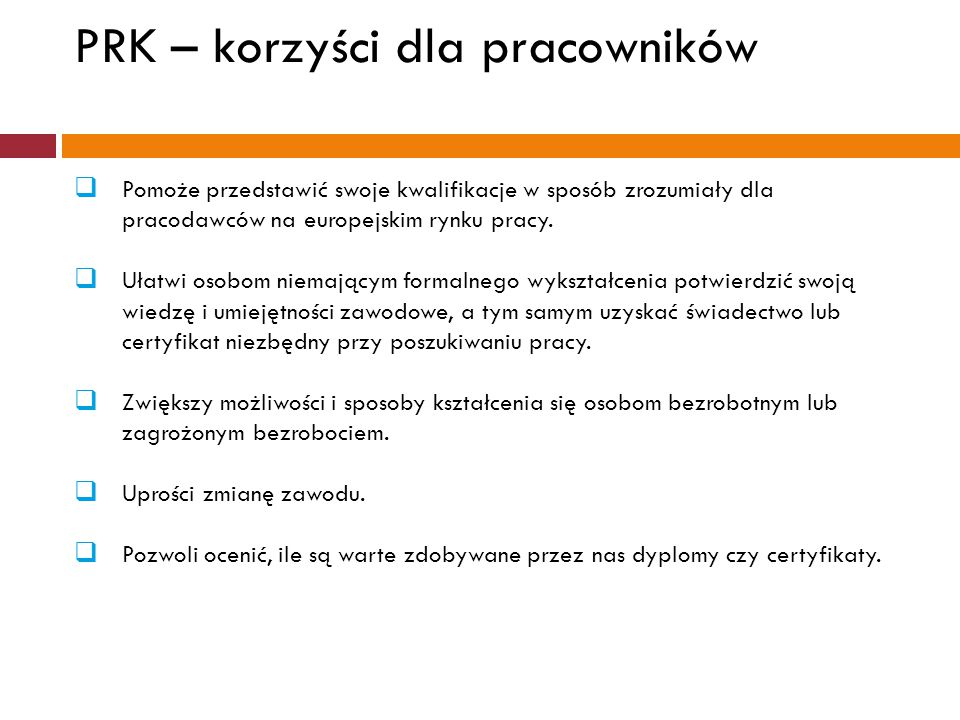 PRK – korzyści dla pracowników