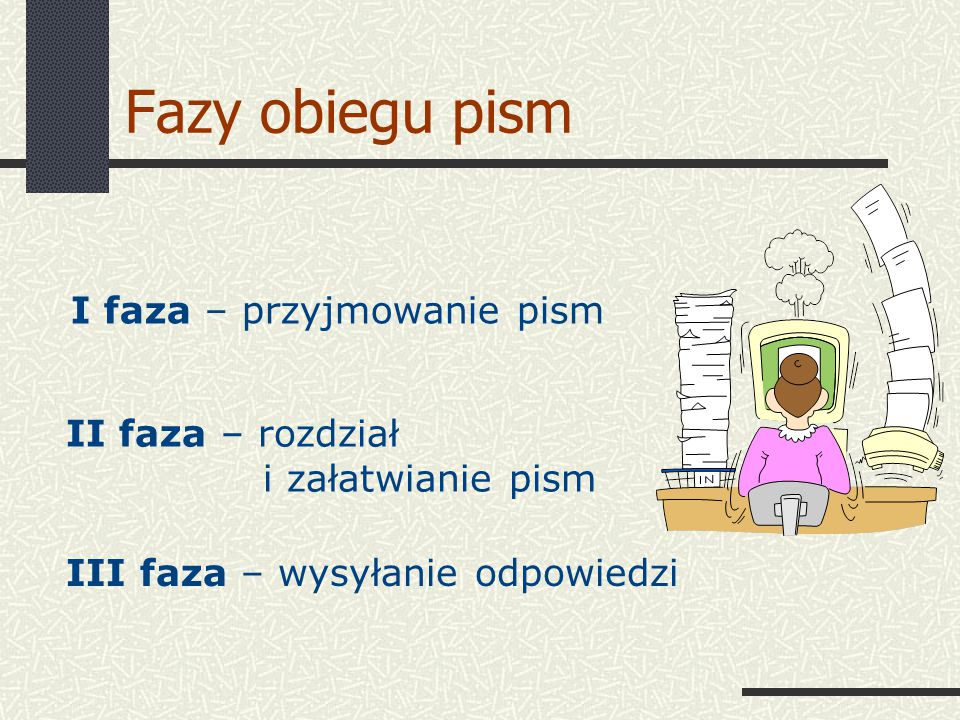 Fazy obiegu pism I faza – przyjmowanie pism II faza – rozdział
