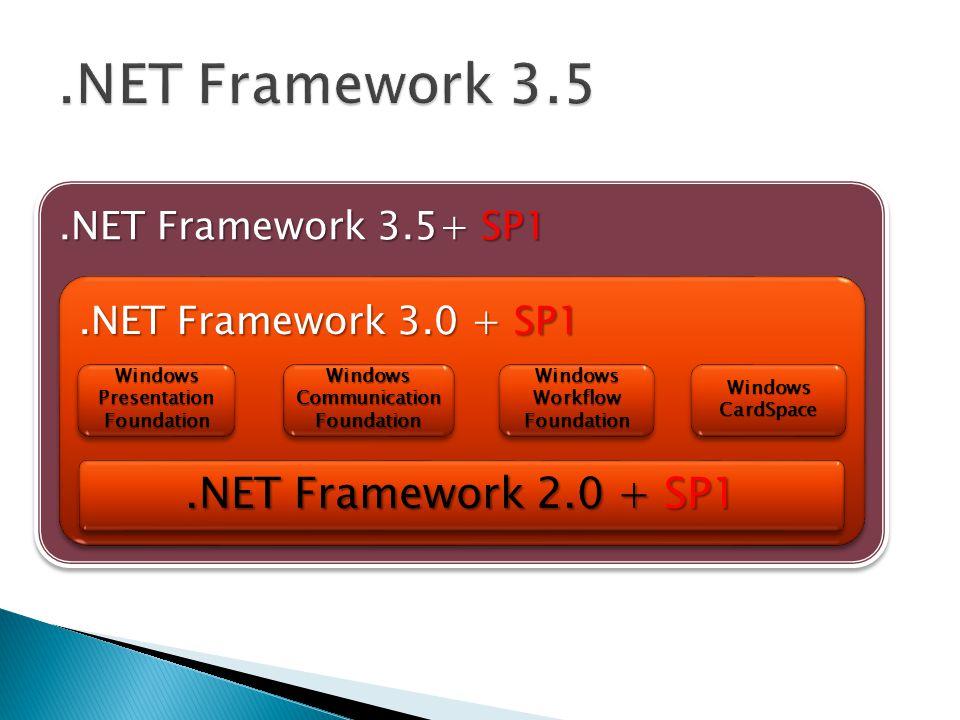 .NET Framework 3.5 .NET Framework 2.0 + SP1 .NET Framework 3.5+ SP1