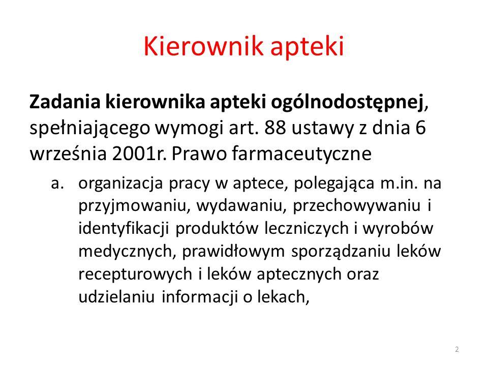 Kierownik apteki Zadania kierownika apteki ogólnodostępnej, spełniającego wymogi art. 88 ustawy z dnia 6 września 2001r. Prawo farmaceutyczne.