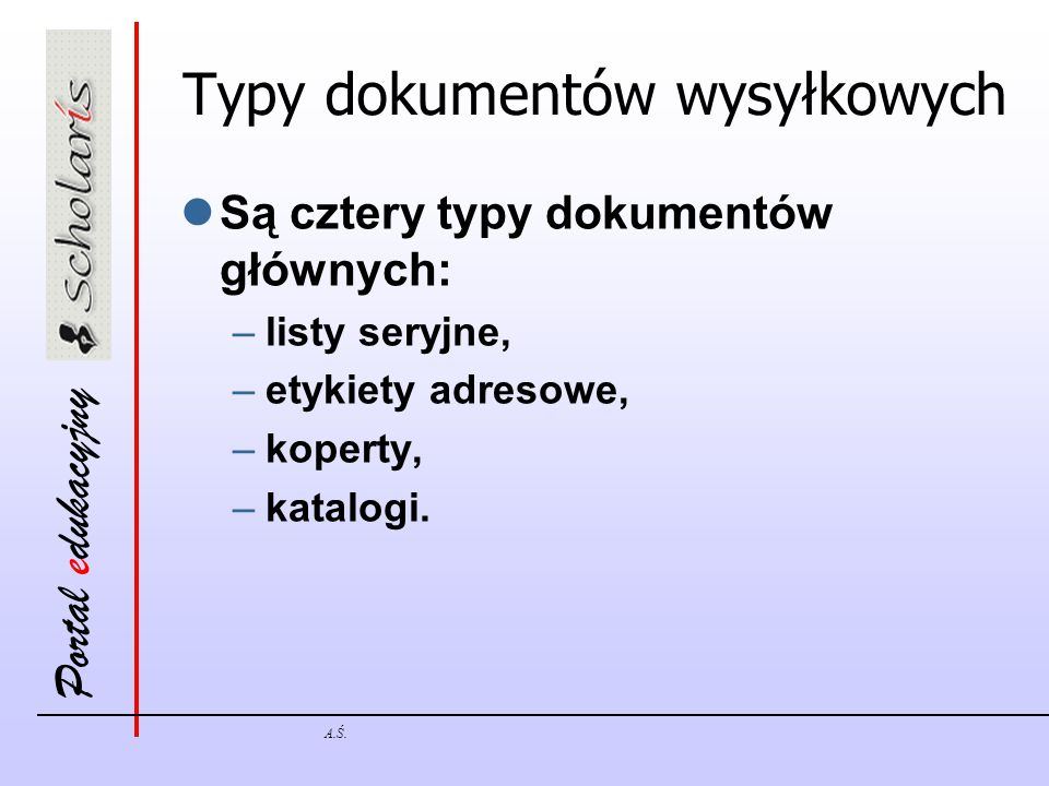 Typy dokumentów wysyłkowych