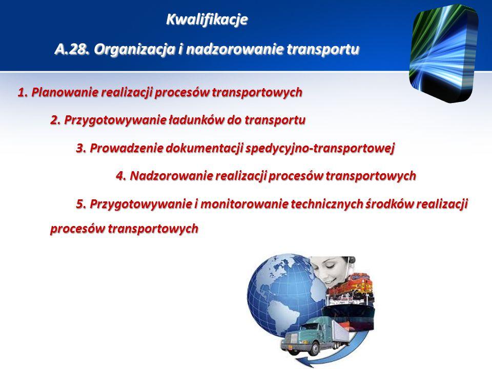 Kwalifikacje A.28. Organizacja i nadzorowanie transportu