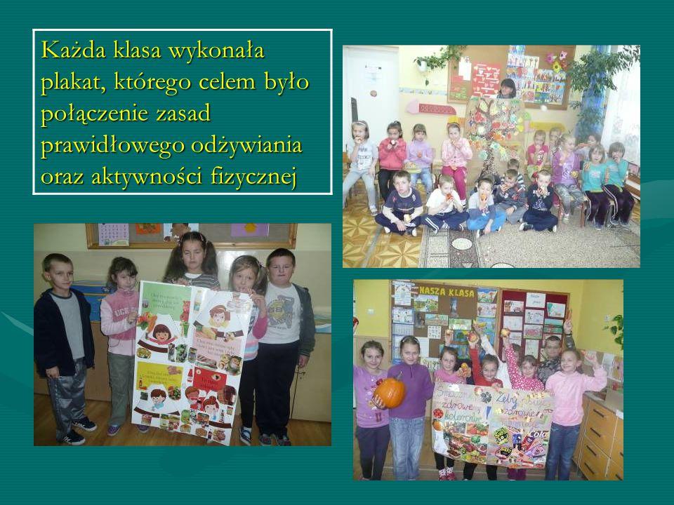 Każda klasa wykonała plakat, którego celem było połączenie zasad prawidłowego odżywiania oraz aktywności fizycznej