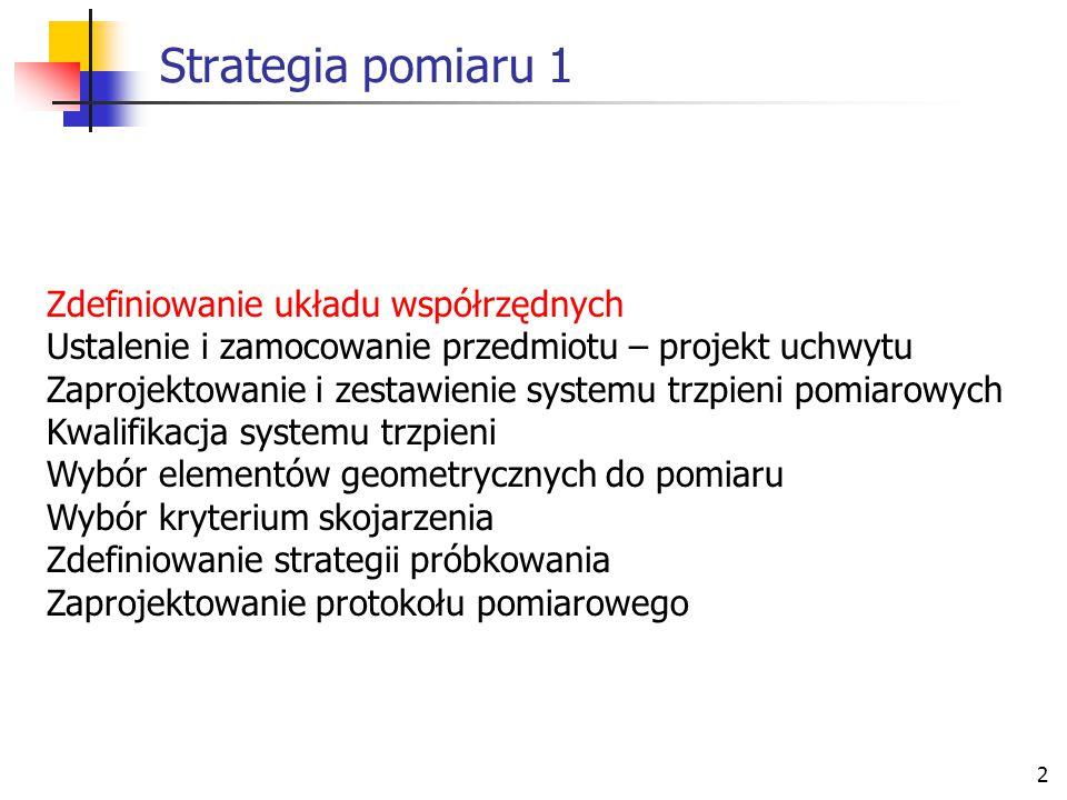 Strategia pomiaru 1 Zdefiniowanie układu współrzędnych