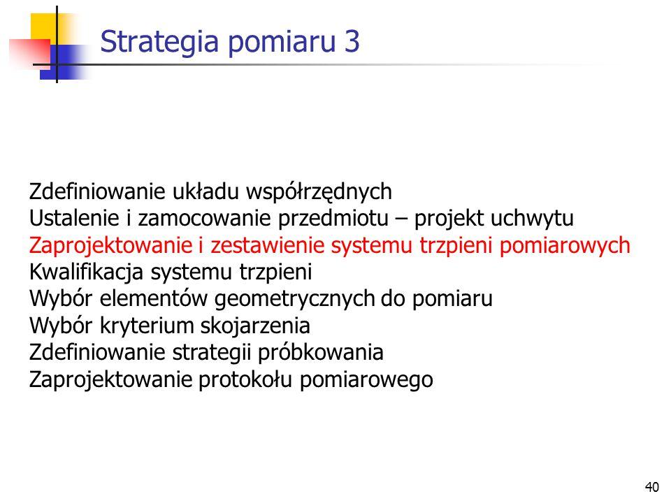 Strategia pomiaru 3 Zdefiniowanie układu współrzędnych