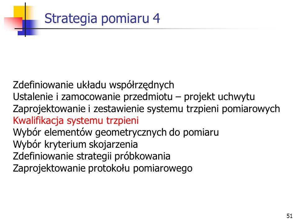 Strategia pomiaru 4 Zdefiniowanie układu współrzędnych