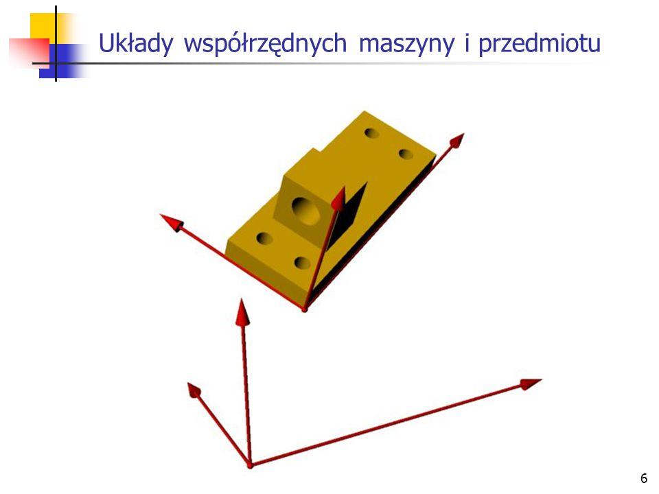 Układy współrzędnych maszyny i przedmiotu
