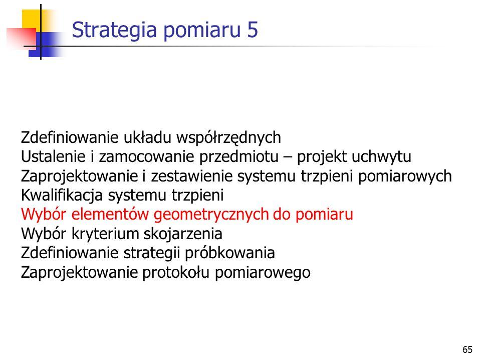 Strategia pomiaru 5 Zdefiniowanie układu współrzędnych