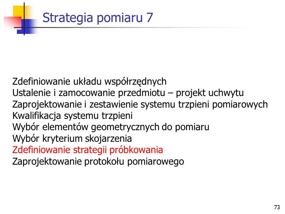 Strategia pomiaru 7 Zdefiniowanie układu współrzędnych