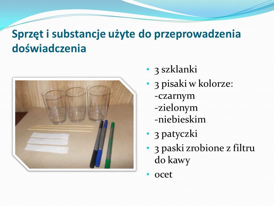Sprzęt i substancje użyte do przeprowadzenia doświadczenia