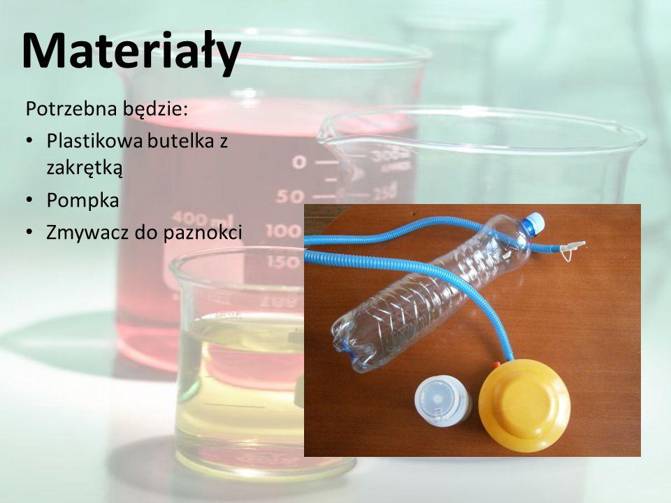 Materiały Potrzebna będzie: Plastikowa butelka z zakrętką Pompka