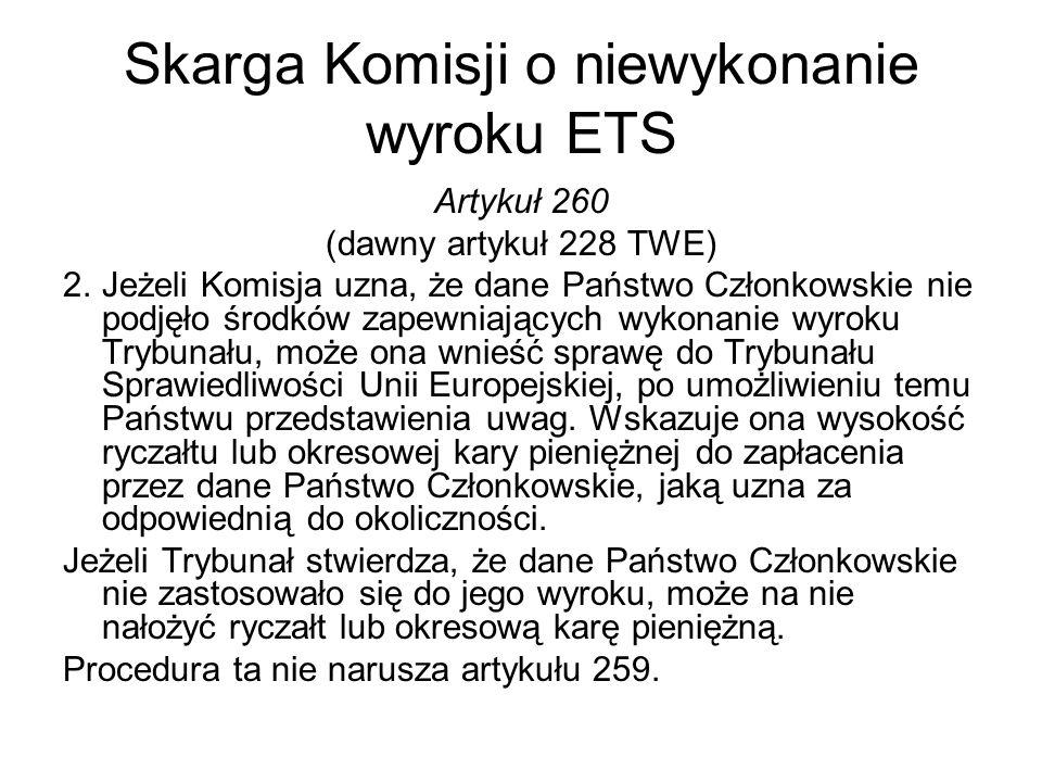 Skarga Komisji o niewykonanie wyroku ETS