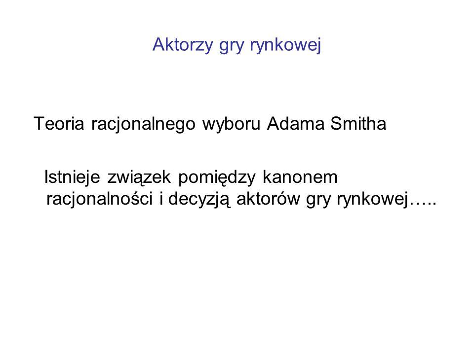 Aktorzy gry rynkowej Teoria racjonalnego wyboru Adama Smitha.