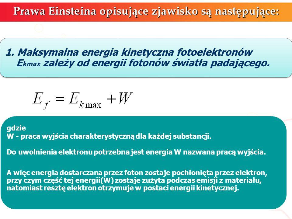 Prawa Einsteina opisujące zjawisko są następujące: