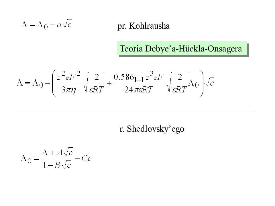 pr. Kohlrausha Teoria Debye'a-Hückla-Onsagera r. Shedlovsky'ego