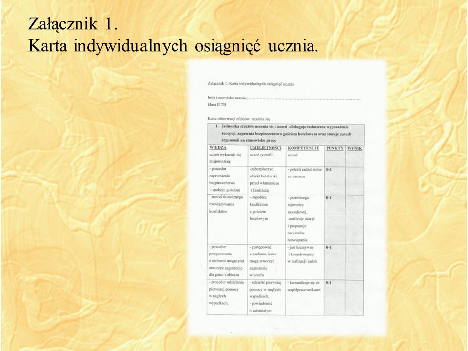 Załącznik 1. Karta indywidualnych osiągnięć ucznia.
