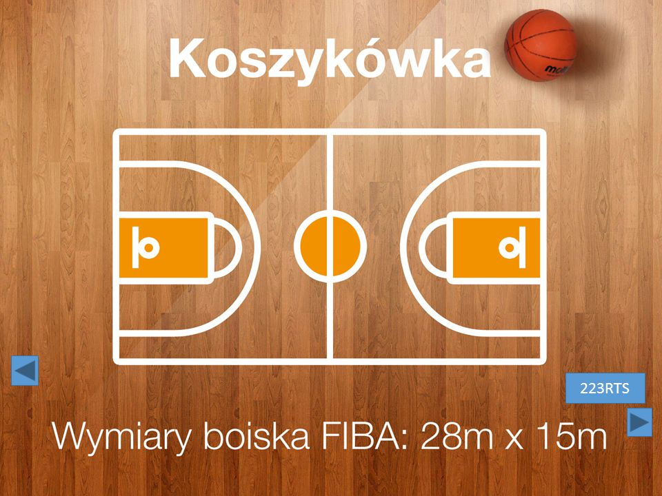 Koszykówka. Białe litery na tle drewnianej podłogi