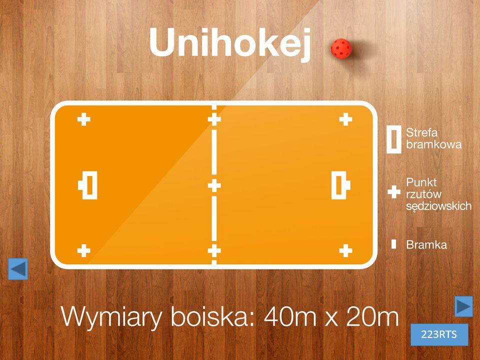 Unihokej – białe litery na tle drewnianej podłogi