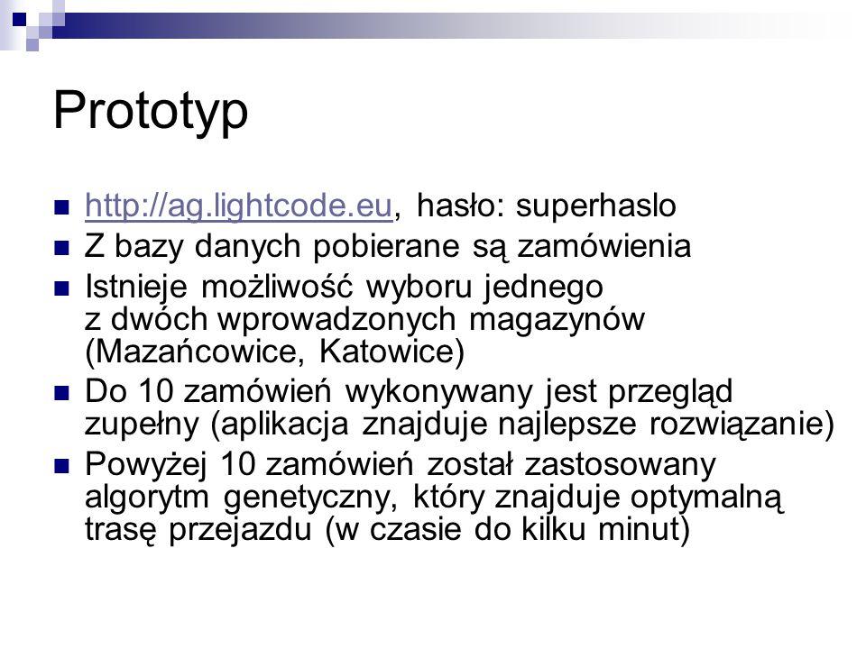 Prototyp http://ag.lightcode.eu, hasło: superhaslo